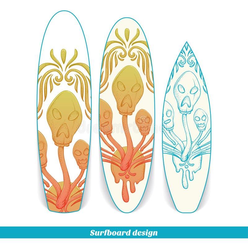 Champinjon tre för surfingbrädadesignabstrakt begrepp vektor illustrationer