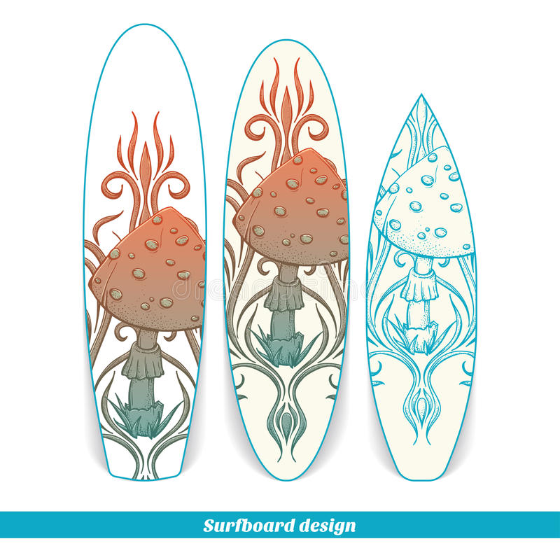 Champinjon två för surfingbrädadesignabstrakt begrepp royaltyfri illustrationer