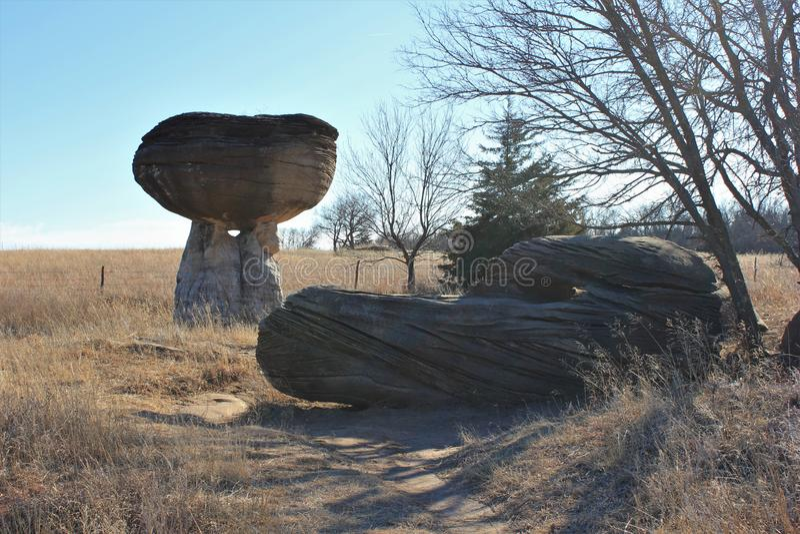 Champinjonen vaggar delstatsparken Kansas arkivfoto