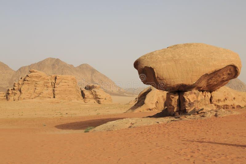 Champinjonen vaggar i den Wadi Rum öknen arkivbilder