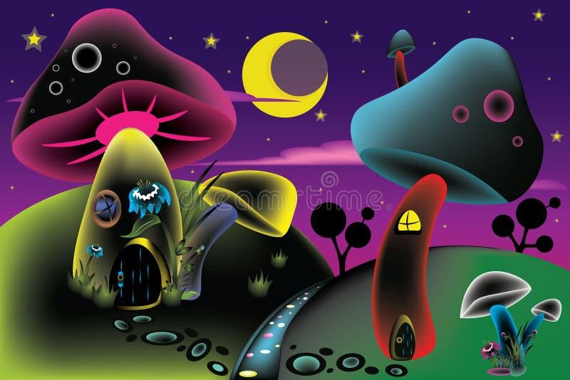 Champinjoner i ängen vektor illustrationer