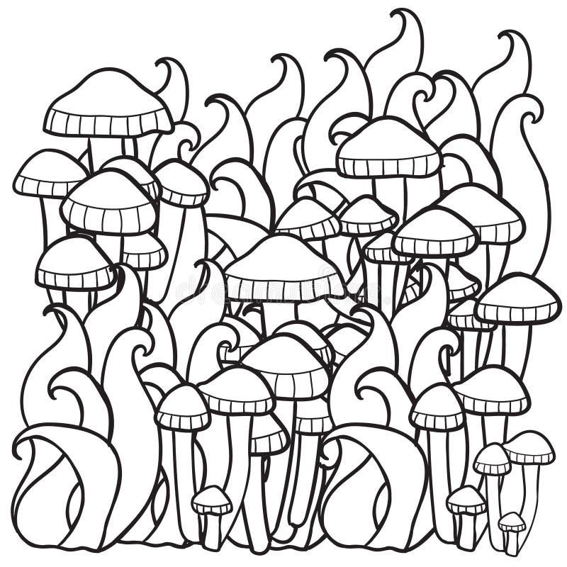 Champinjoner i skogen vektor illustrationer