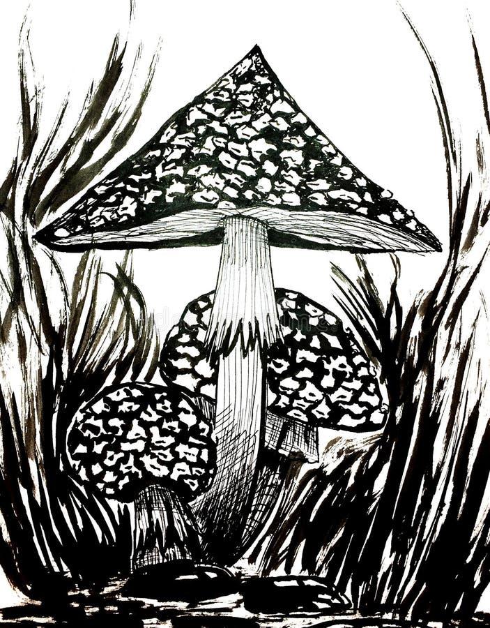 Champinjoner i skogfärgpulverillustrationen stock illustrationer