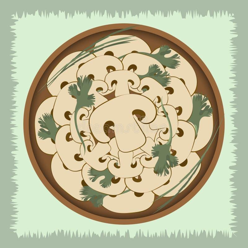 Champinjoner med örter på en platta Vektorillustration på en grön bakgrund vektor illustrationer