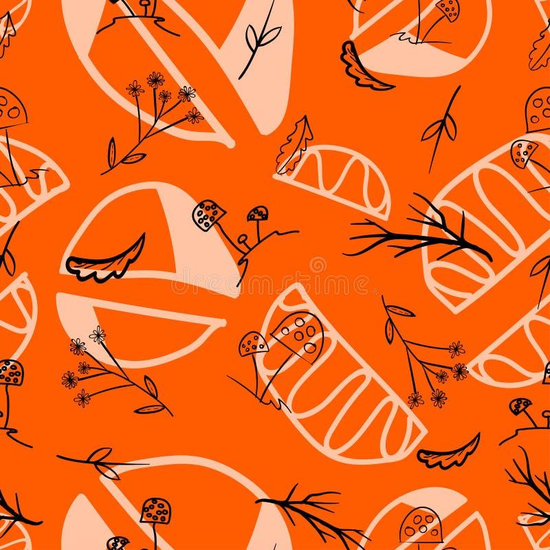 Champinjoner med sidor och filialer som dras på en orange färg royaltyfri illustrationer