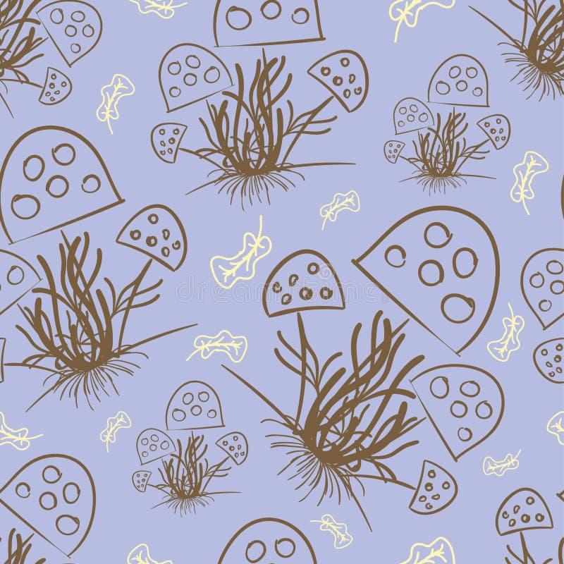 Champinjoner och torkade sidor som dras med en brun färg på ett ljust - blå färg stock illustrationer