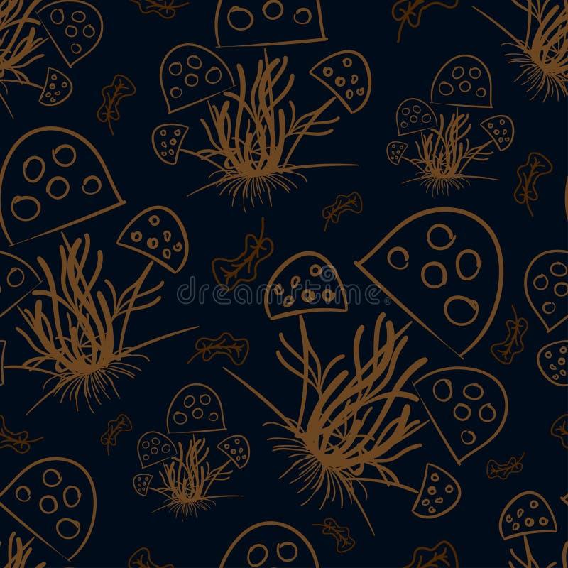 Champinjoner och torkade sidor som dras med en brun färg på en mörk färg royaltyfri illustrationer
