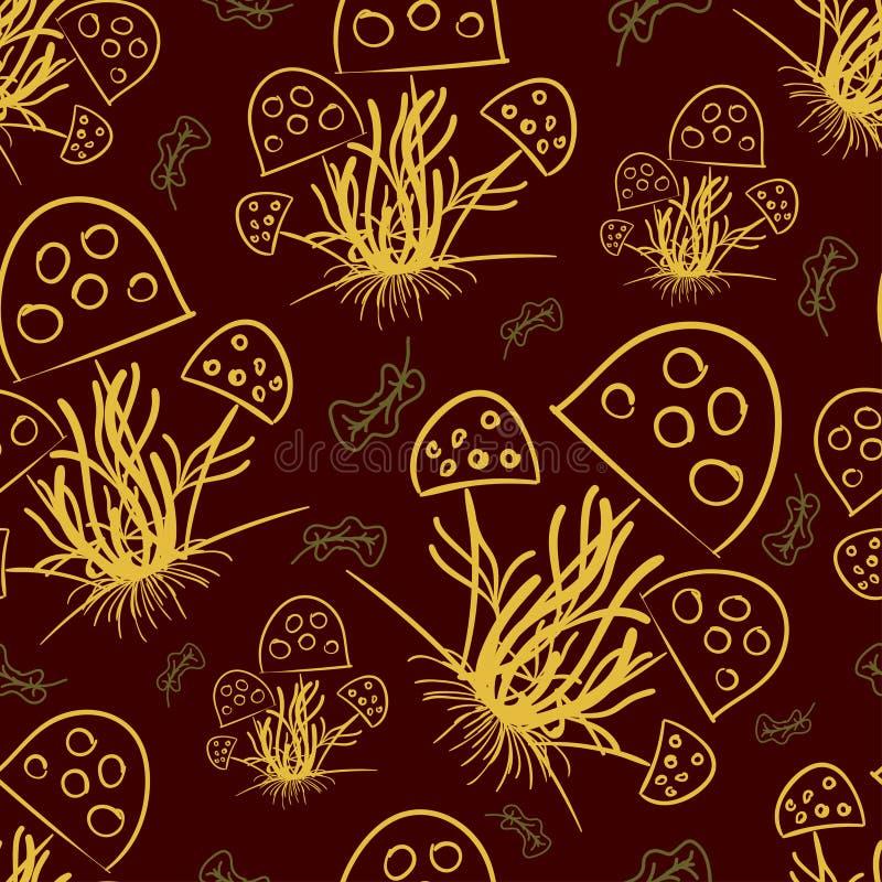 Champinjoner och torkade sidor som dras med en guld- färg på ett mörkt - röd färg vektor illustrationer