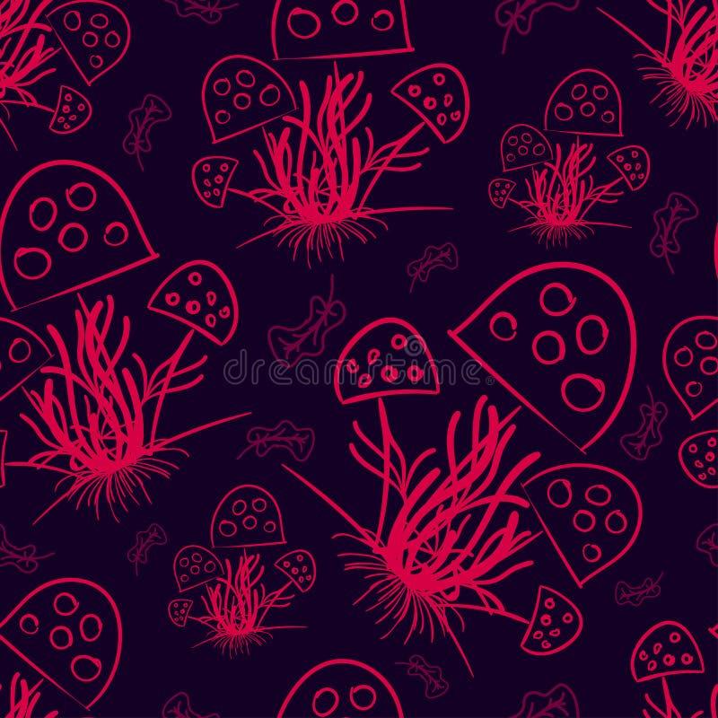 Champinjoner och torkade sidor som dras med en rosa färg på en mörk violett färg royaltyfri illustrationer