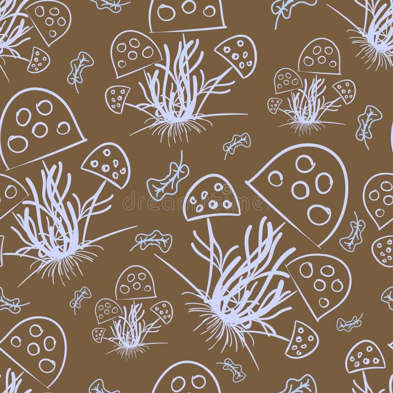 Champinjoner och torkade sidor som dras med ett ljust - blå färg på en brun färg vektor illustrationer