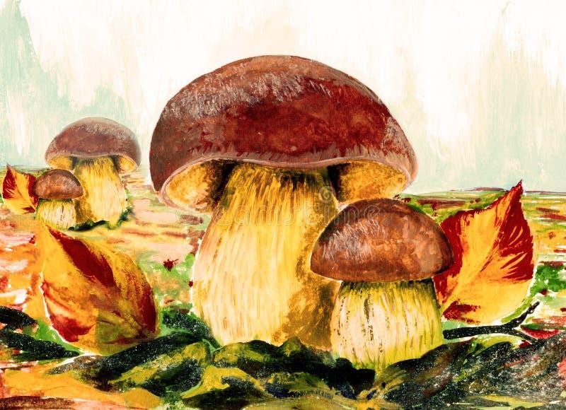 champinjoner på ängen wallpaper Ätliga champinjoner wallpaper Hösten landskap stock illustrationer