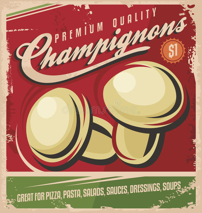 Champinjoner retro affischdesign vektor illustrationer