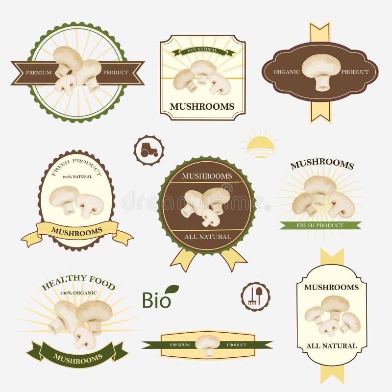 Champinjoner uppsättning av etikettdesignen vektor illustrationer