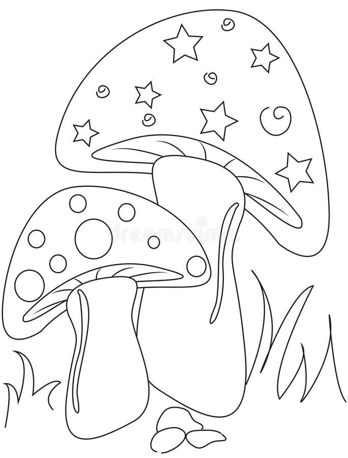 Champinjonfärgläggningsida royaltyfri illustrationer