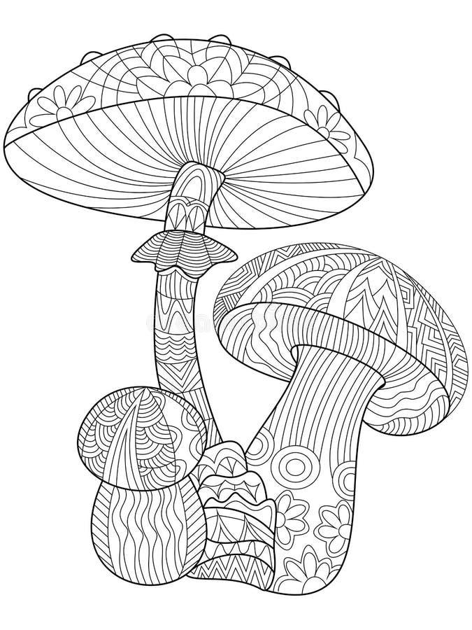 Champinjonfärgläggningvektor för vuxna människor vektor illustrationer