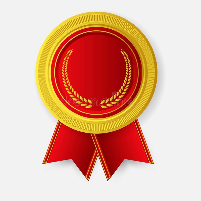 Champion Art Golden Medal mit Red Ribbon l Icon Sign First Place Isoliert auf dem Hintergrund stock abbildung