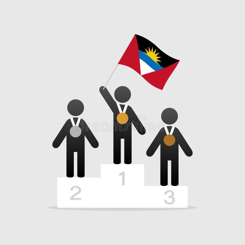 Champion avec le drapeau d'Antigua et de Barbuda illustration libre de droits