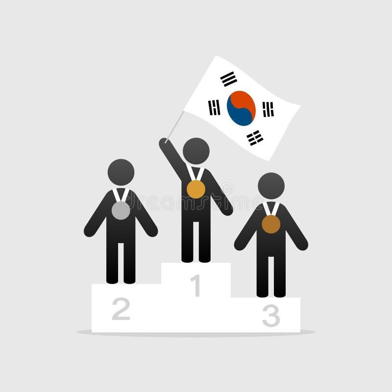 Champion avec le drapeau de la Corée du Sud illustration de vecteur