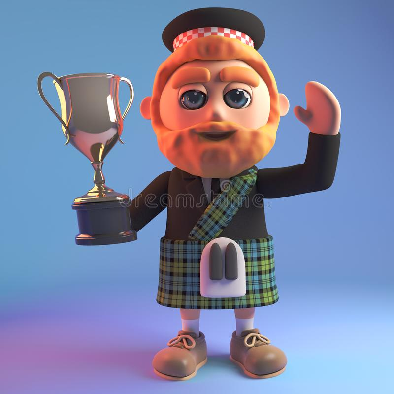Champion cartoon 3d Scottish man in kilt with red beard holds the gold cup trophy prize up high, 3d illustration stock illustration
