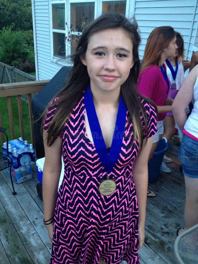 Champion d'athlétisme d'adolescents images libres de droits