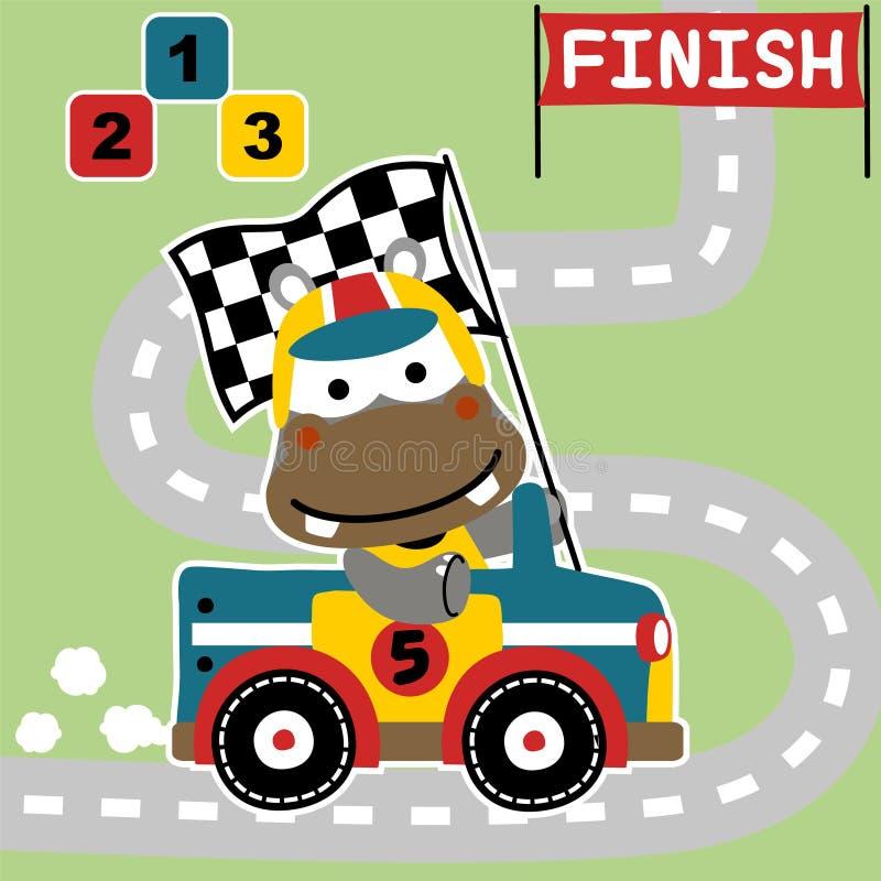 Champion drôle de courses d'automobiles sur le circuit illustration de vecteur