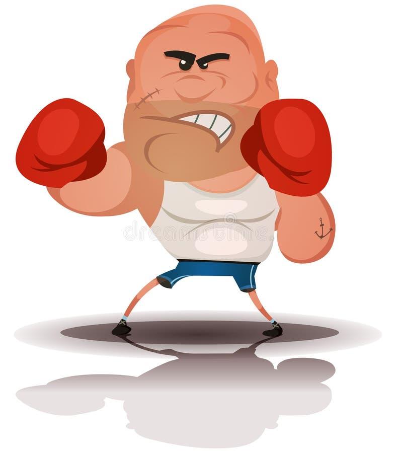 Champion fâché de boxeur de bande dessinée illustration stock