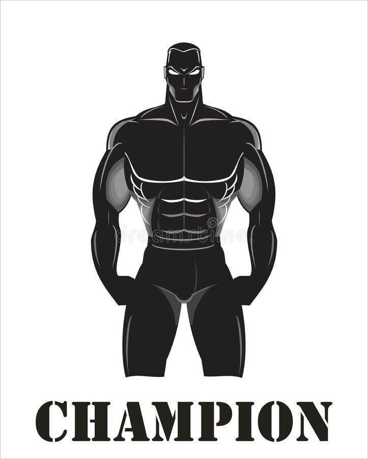 Champion, fighter, body builder, human silhouette anatomy. royalty free illustration