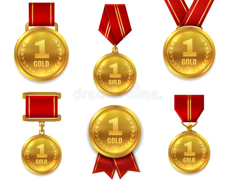 Champion gold medals. Award winner trophy golden medal sport reward competition first best hero red ribbon coin prize vector illustration