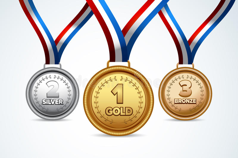Champion gold, silver and bronze award medals with red ribbons. vector illustration. Vector illustrations of three sport medals: gold, silver, bronze. Winners royalty free illustration