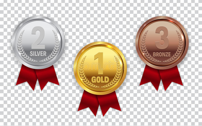 Champion Gold, Silver and Bronze Medal with Red Ribbon Icon Sign stock illustration