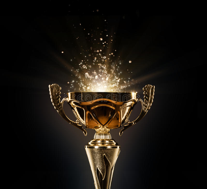Champion Golden Trophy On Black Background Stock Image ...