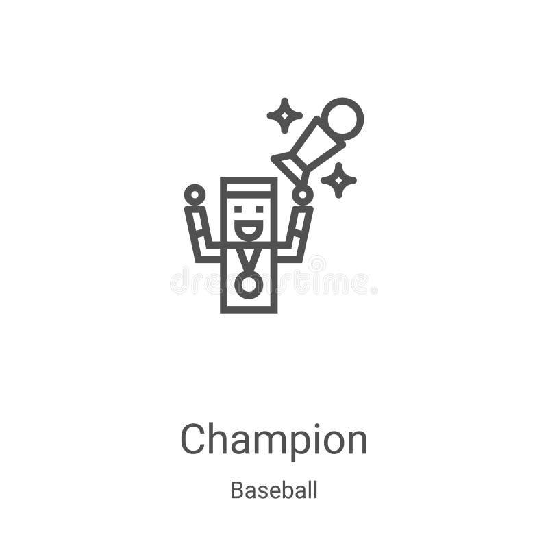 Champion Icon Vektor aus Baseballsammlung Dünne Linie Champion Umrisssymbol Vektorgrafik Lineares Symbol für die Verwendung im We vektor abbildung