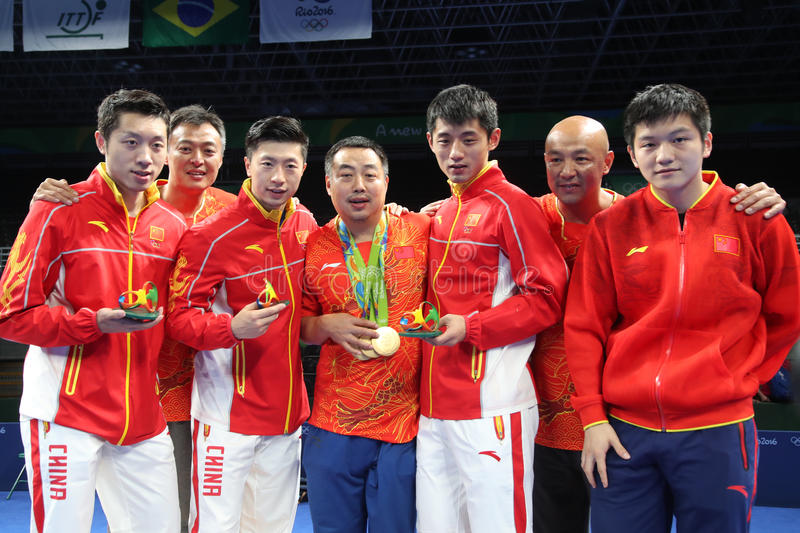 Champion olympique d'équipe de la Chine à Rio 2016 photos libres de droits