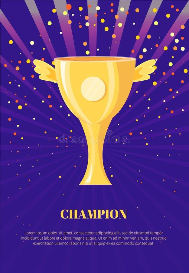 Champion-Poster mit Wings Poster Confetti vektor abbildung