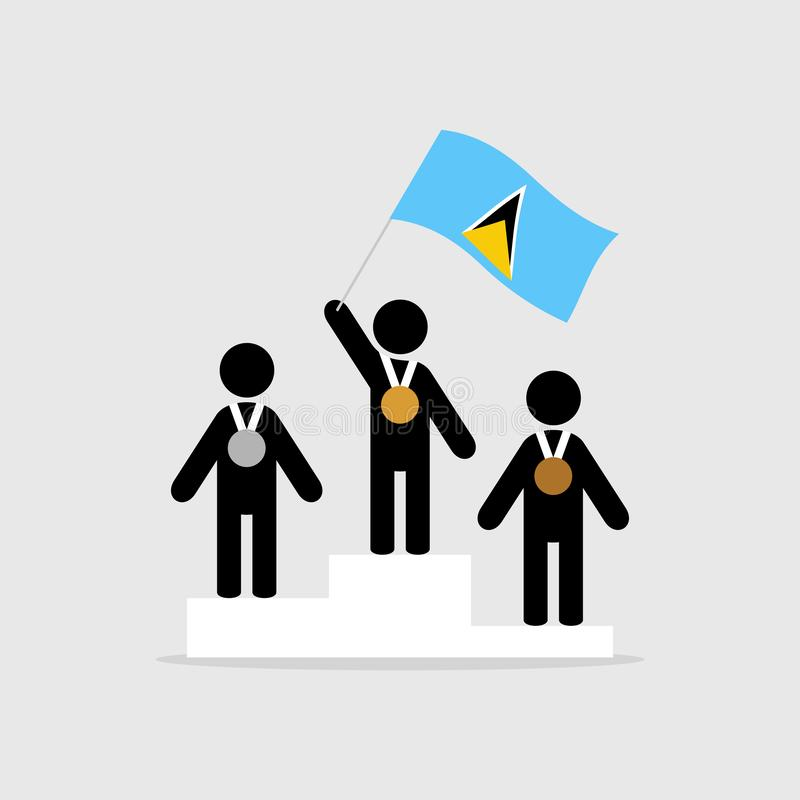 Champion with saint lucia flag royalty free illustration