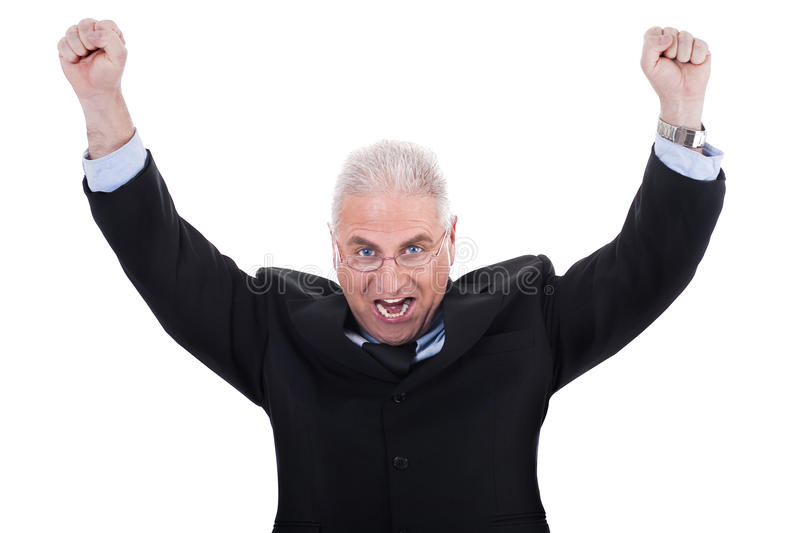 Champion senior business man. Standing with fists clenched in victory in white background royalty free stock photos