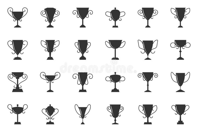 Champion cup trophy win silhouette icon vector set vector illustration