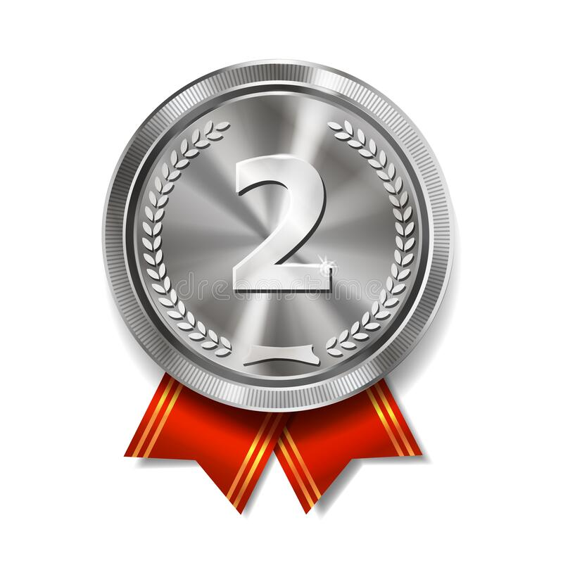 Free Champion Silver Medal With Red Ribbon On White Background. Metallic Winner Award. Second Place, Royalty Free Stock Photo - 180162505