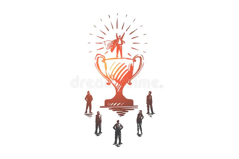 Champion, success, victory, businessman, superman concept. Hand drawn isolated vector. Champion, success, victory, businessman, super hero concept. Hand drawn vector illustration