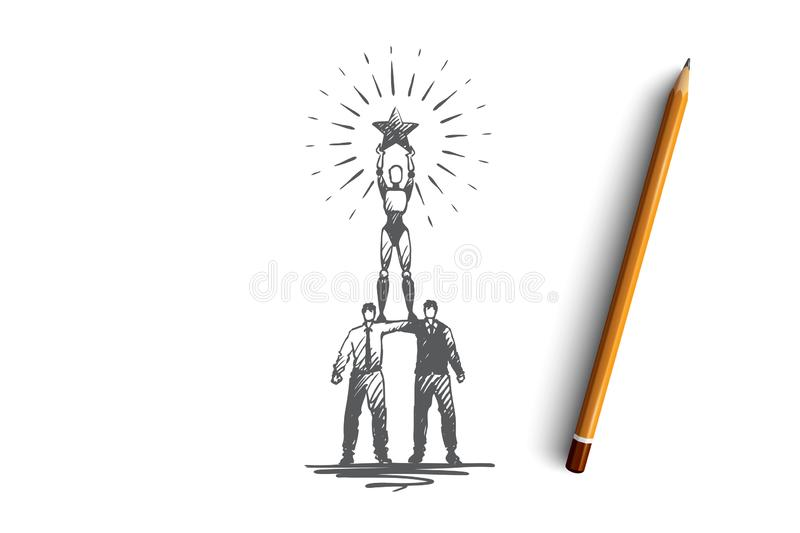 Champion, success, victory, HCI, automation concept. Hand drawn isolated vector. Champion, success, victory, HCI, automation concept. Hand drawn team winners vector illustration