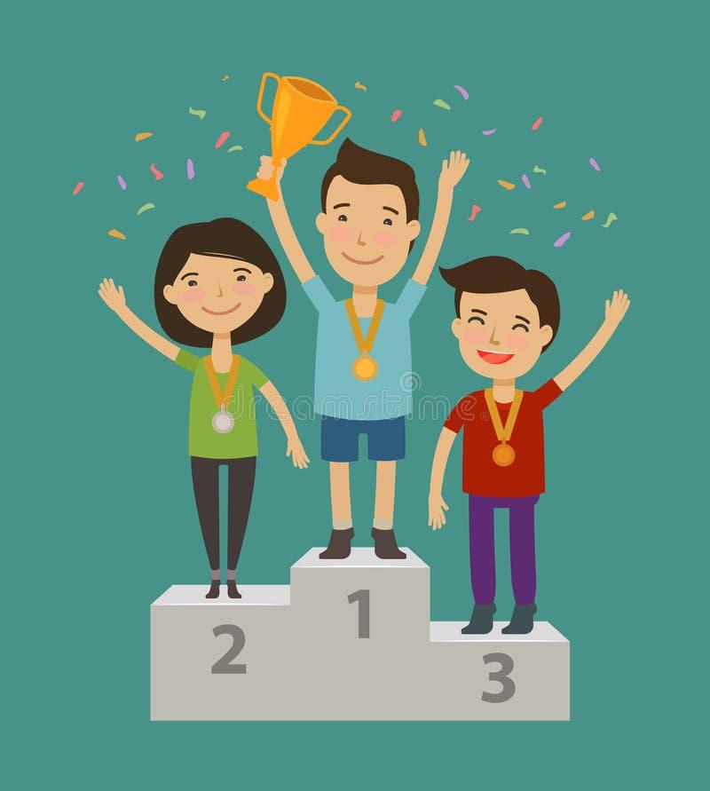 Champion sur le piédestal Accomplissement, concept de cérémonie d'attribution Illustration de vecteur de dessin animé illustration stock