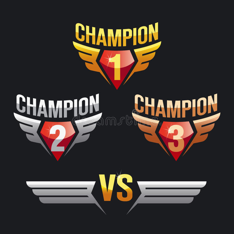 Champion and wings, vs versus. Gold and silver, bronze. royalty free illustration