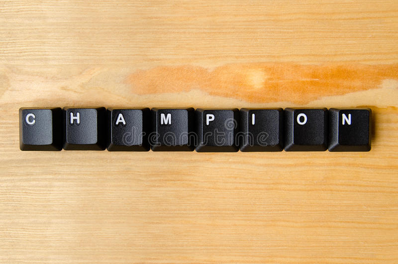 Champion word. With keyboard buttons royalty free stock images