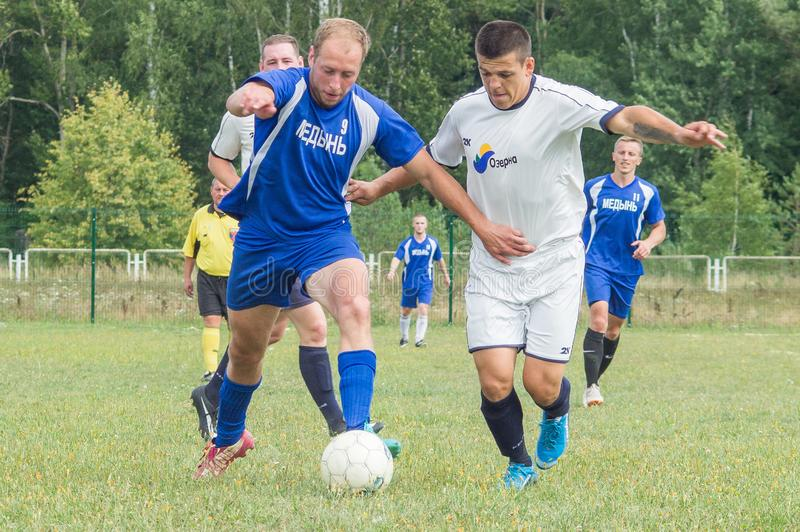 Championnat amateur du football dans la région de Kaluga de la Russie photo libre de droits
