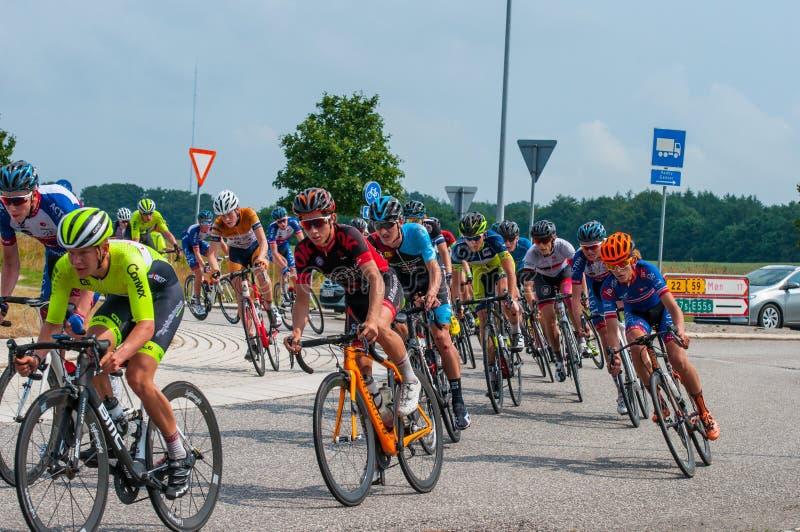 Championnat danois dans l'emballage de vélo de route image stock