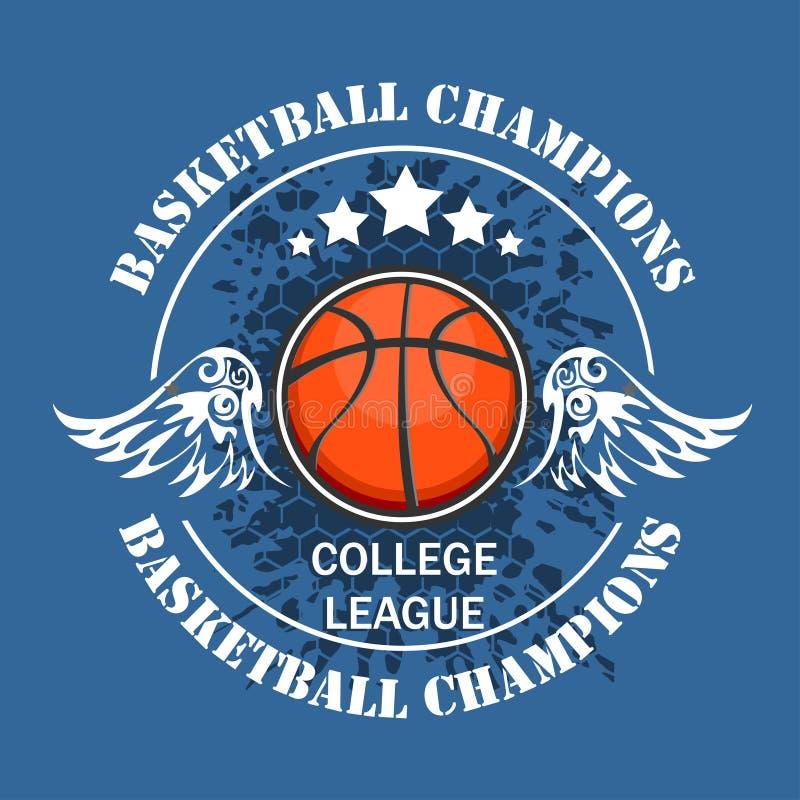Championnat de basket-ball - emblème de vecteur illustration libre de droits