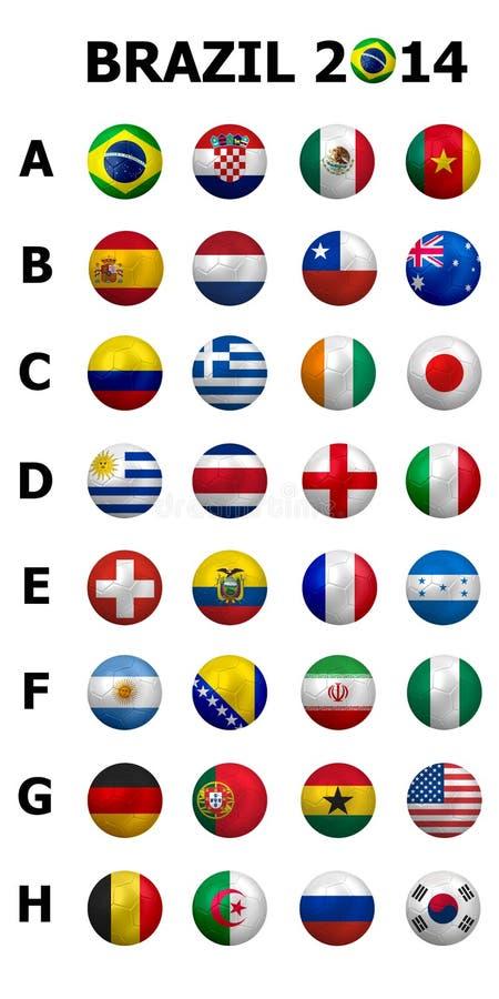 Championnat 2014 du football du football Le Brésil groupe A à H nati 32 illustration libre de droits