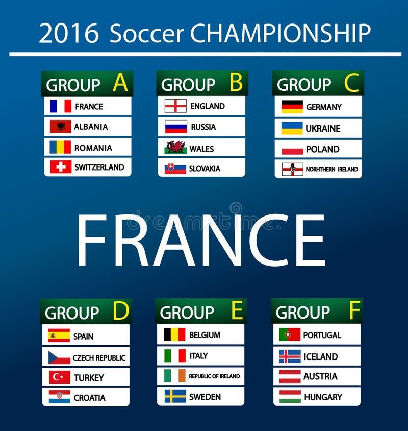 Championnat européen 2016 du football dans les Frances illustration stock