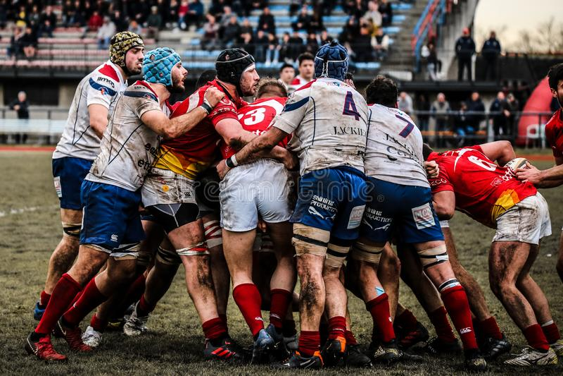Championnat national italien Serie A quelques joueurs de rugby pendant un match image stock