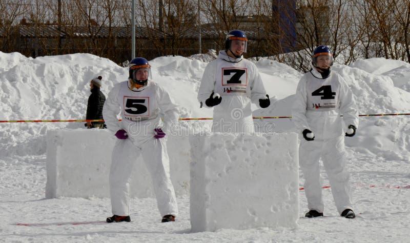 Championnats finlandais 2010 de boule de neige de Yukigassen photos libres de droits